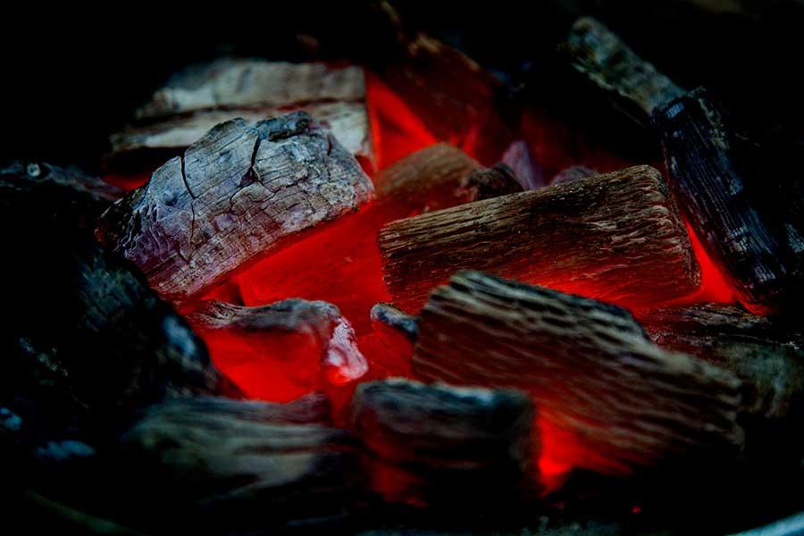 Wood on top of coal