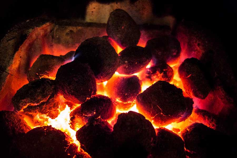 Coal on top of wood